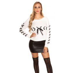 Fehér női kött pulóver szalaggal