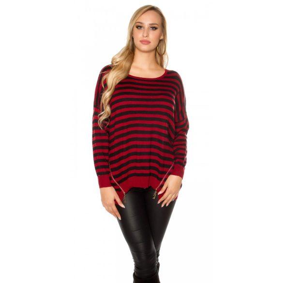 Bordó csíkos női kötött pulóver