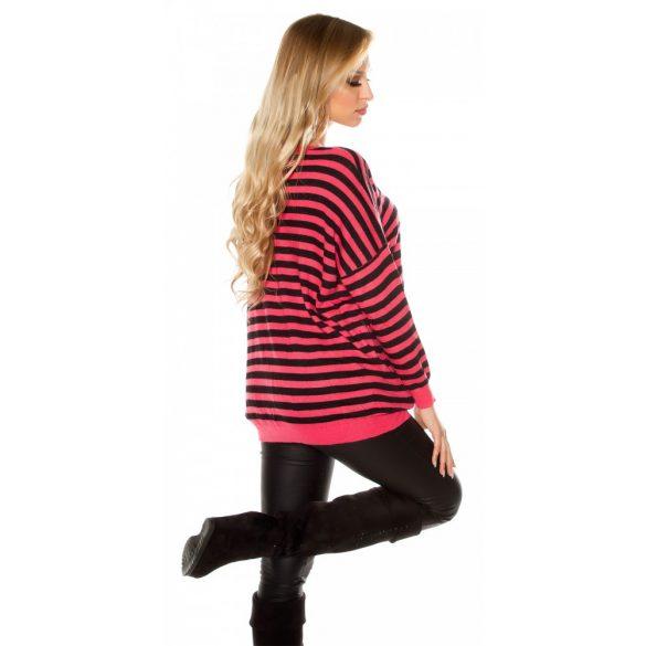 Korall csíkos női kötött pulóver