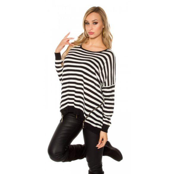 Fekete csíkos női kötött pulóver