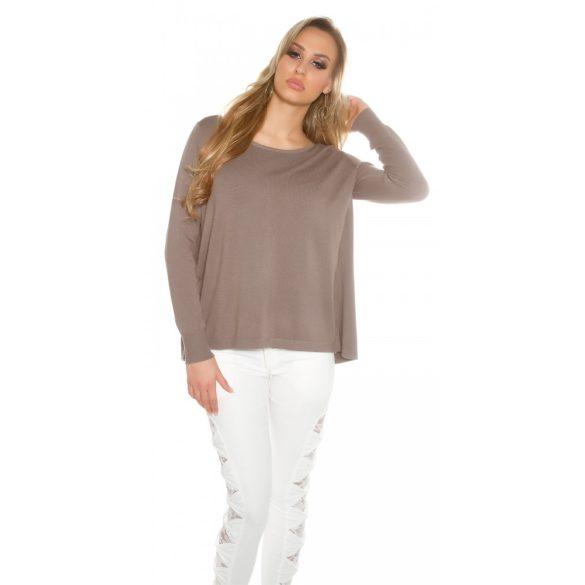 Barna női kötött pulóver