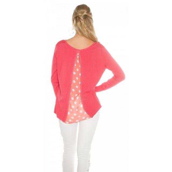 Korall női kötött pulóver
