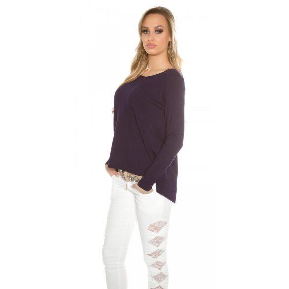 Kék női kötött pulóver