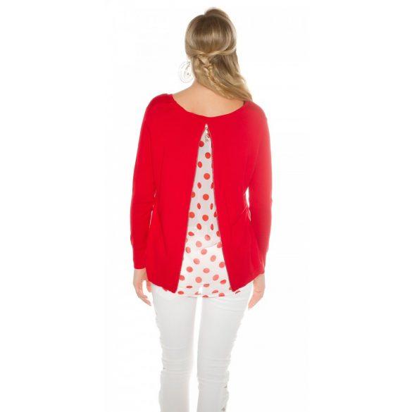 Piros női kötött pulóver