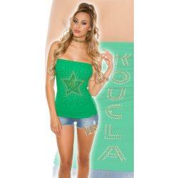 Zöld női ujjatlan top csillag mintával