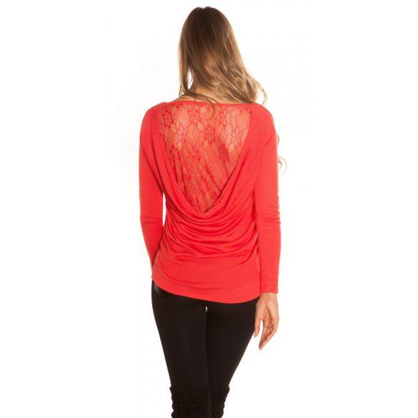 Korall kötött női csipkehátú pulóver