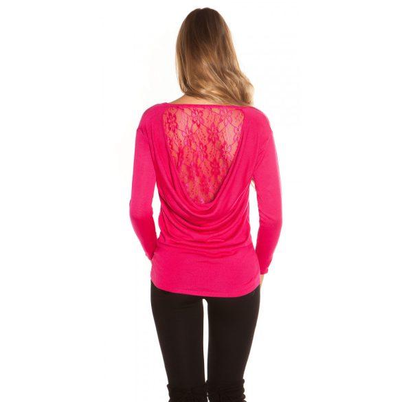 Pink kötött női csipkehátú pulóver