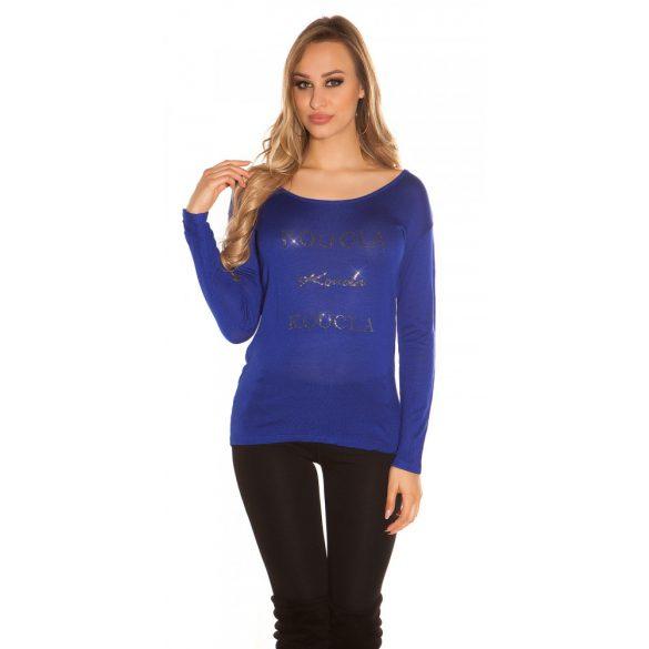 Kék kötött női csipkehátú pulóver