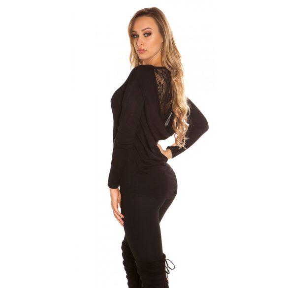 Fekete kötött női csipkehátú pulóver