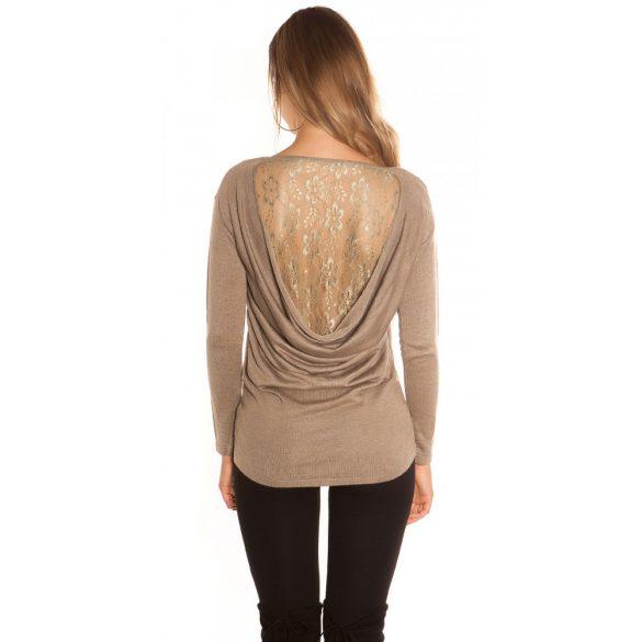 Barna kötött női csipkehátú pulóver