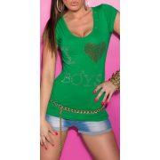 Zöld női strasszköves kivágott hátú póló