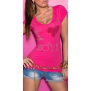 Pink női strasszköves kivágott hátú póló