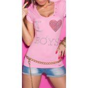 Rózsaszín női strasszköves kivágott hátú póló