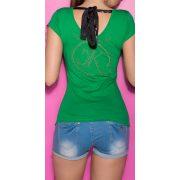 Zöld női strasszköves póló
