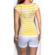 Sárga fehér csíkos női póló