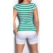 Zöld fehér csíkos női póló