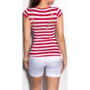 Piros fehér csíkos női póló