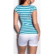 Kék fehér csíkos női póló