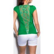 Zöld női rövid ujjú póló csipke betéttel