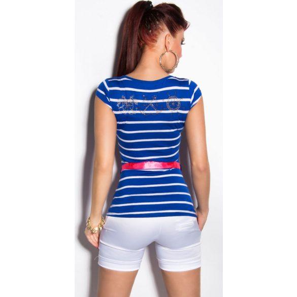 Kék női csíkos póló övvel