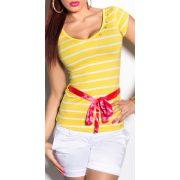 Sárga női csíkos póló övvel