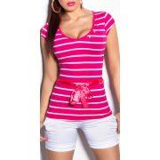Pink női csíkos póló övvel