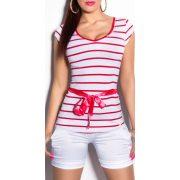 Piros női csíkos póló övvel