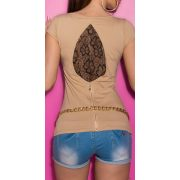 Bézs női rövidujjú póló csipke betéttel
