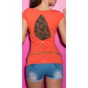 Korall női rövidujjú póló csipke betéttel