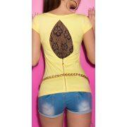 Sárga női rövidujjú póló csipke betéttel