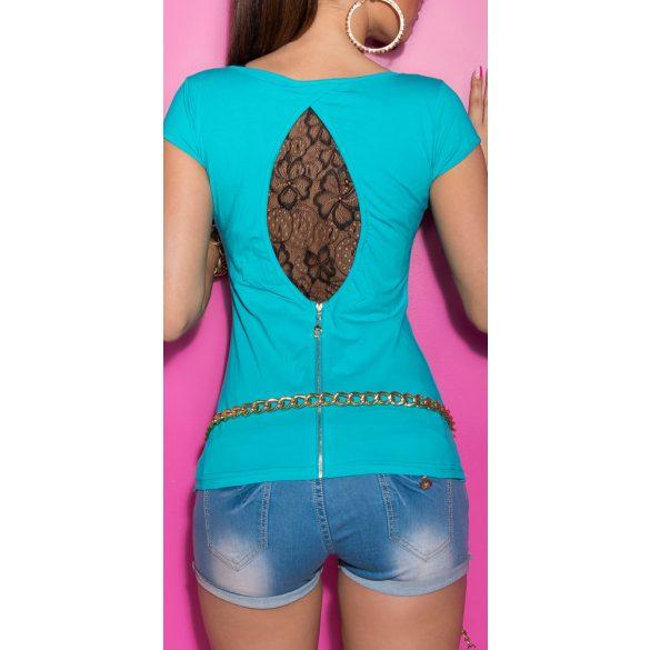 Kék női rövid ujjú póló csipke betéttel