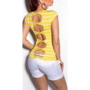Sárga fehér csíkos női top