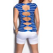 Kék fehér csíkos női top