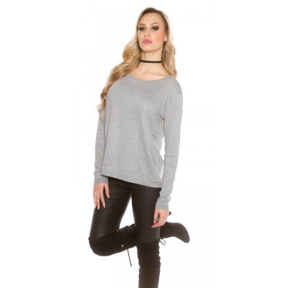 Szürke női kötött pulóver csipkével