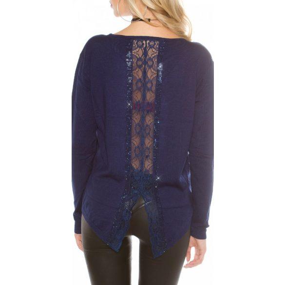 Sötétkék női kötött pulóver csipkével