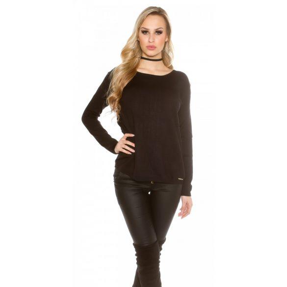 Fekete női kötött pulóver csipkével