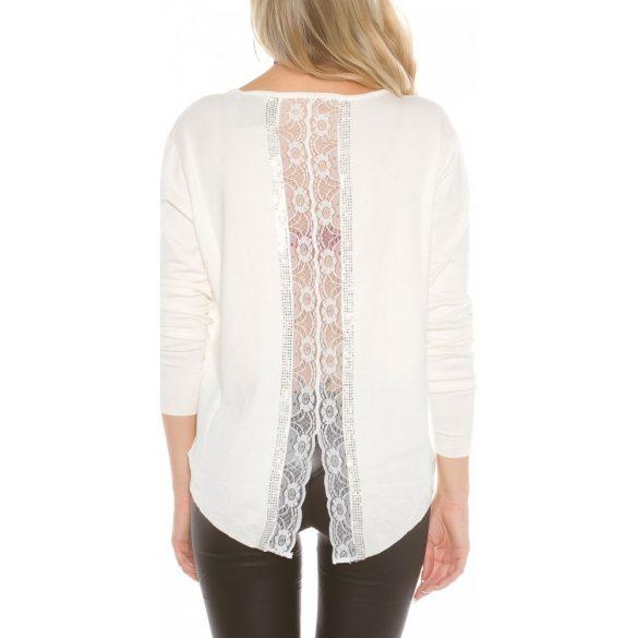 Fehér női kötött pulóver csipkével