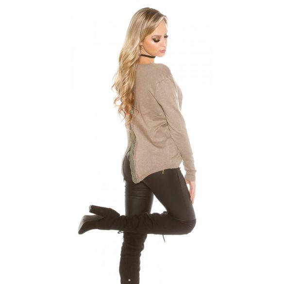 Barna női kötött pulóver csipkével