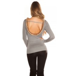 Szürke kötött női felső szőrmés hátkívágással