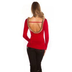 Piros kötött női felső szőrmés hátkívágással