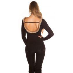 Fekete kötött női felső szőrmés hátkívágással