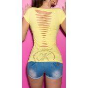 Sárga női rövidujjú póló szaggatott hát résszel