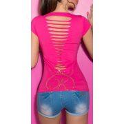 Pink női rövidujjú póló szaggatott hát résszel