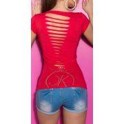 Piros női rövidujjú póló szaggatott hát résszel