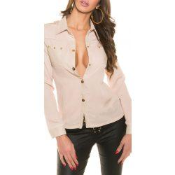 Bézs női ing bőr berakással szegecsekkel