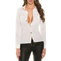 Fehér női ing bőr berakással szegecsekkel