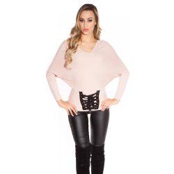 Rózsaszín női  kötött denevér ujjú pulóver szalaggal