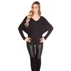 Fekete női  kötött denevér ujjú pulóver szalaggal