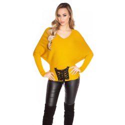 Sárga női  kötött denevér ujjú pulóver szalaggal