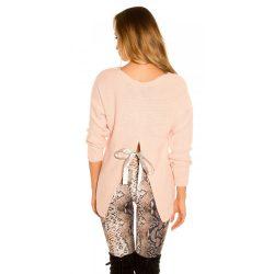 Rózsaszín női kötött hosszú ujjú pulóver